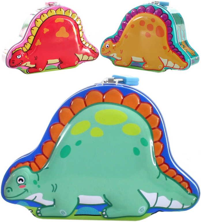 Pokladnička dinosaurus set se 2 klíčky plechová kasička kov - 3 druhy