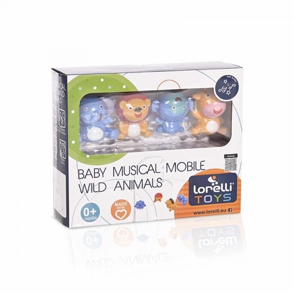 Hudební kolotoč Lorelli nad postýlku WILD ANIMALS