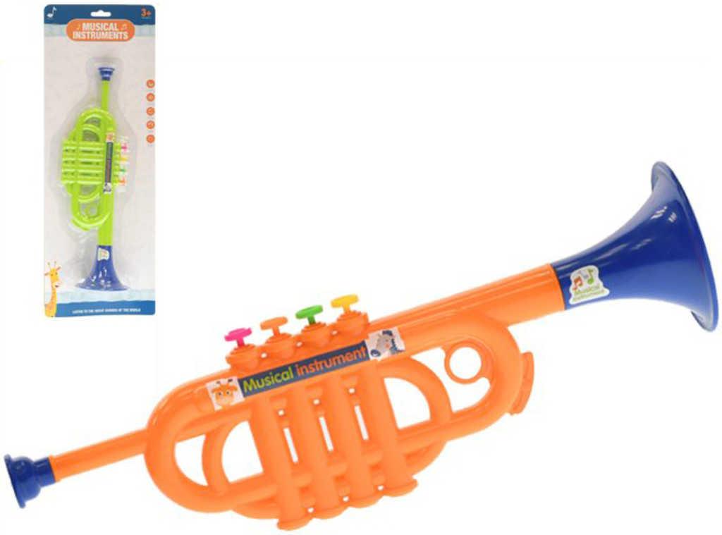 Trumpeta dětská plastová 35cm 2 barvy v sáčku *HUDEBNÍ NÁSTROJE*