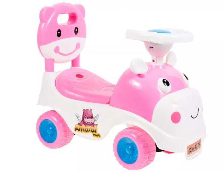 Tulimi Dětské odstrkovadlo, odrážedlo, jezdítko Kravička - růžové