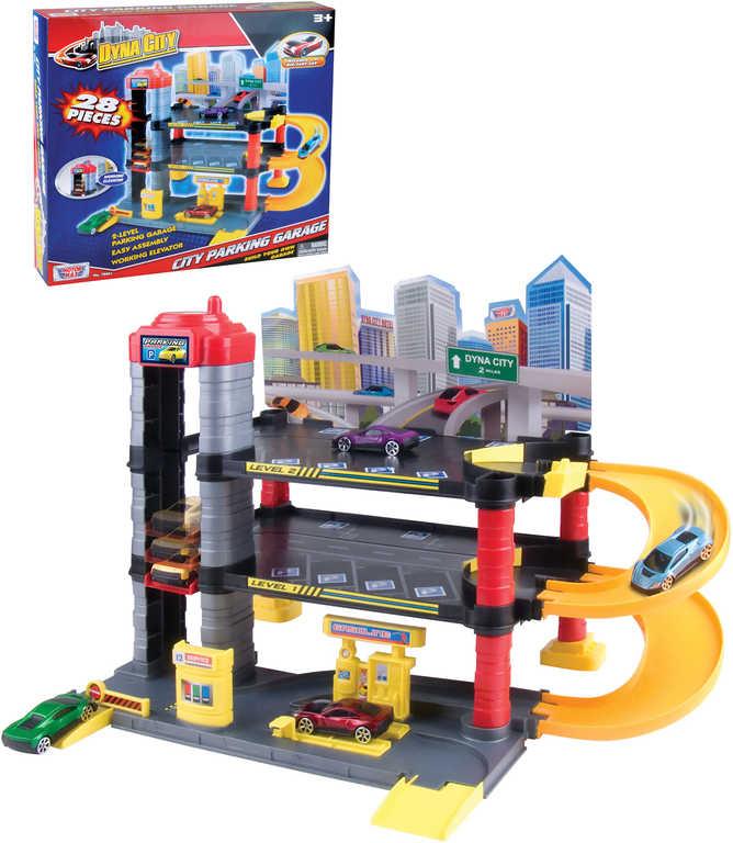 Garáž parkovací dům herní set s autíčkem 28 dílků s výtahem v krabici