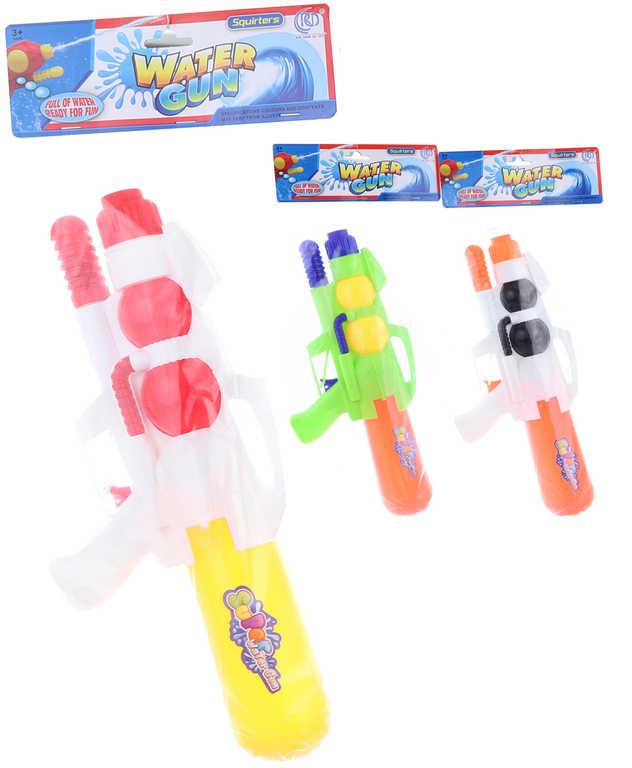 Pistole vodní 35cm se zásobníkem na vodu 3 barvy plast v sáčku