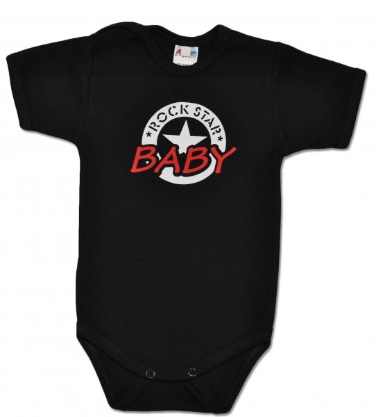 Body ROCK STAR BABY krátký rukáv - černé - 68 (4-6m)