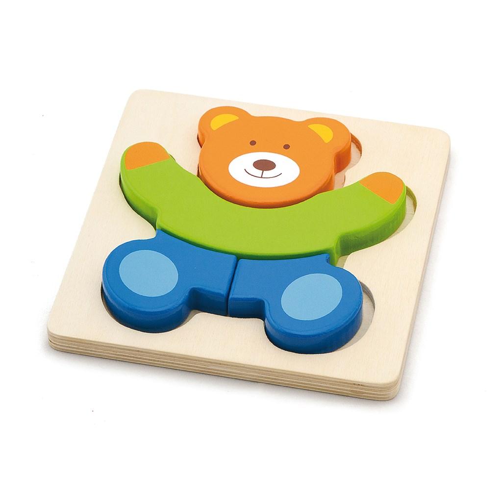 Dřevěné puzzle pro nejmenší Viga Medvídek - multicolor