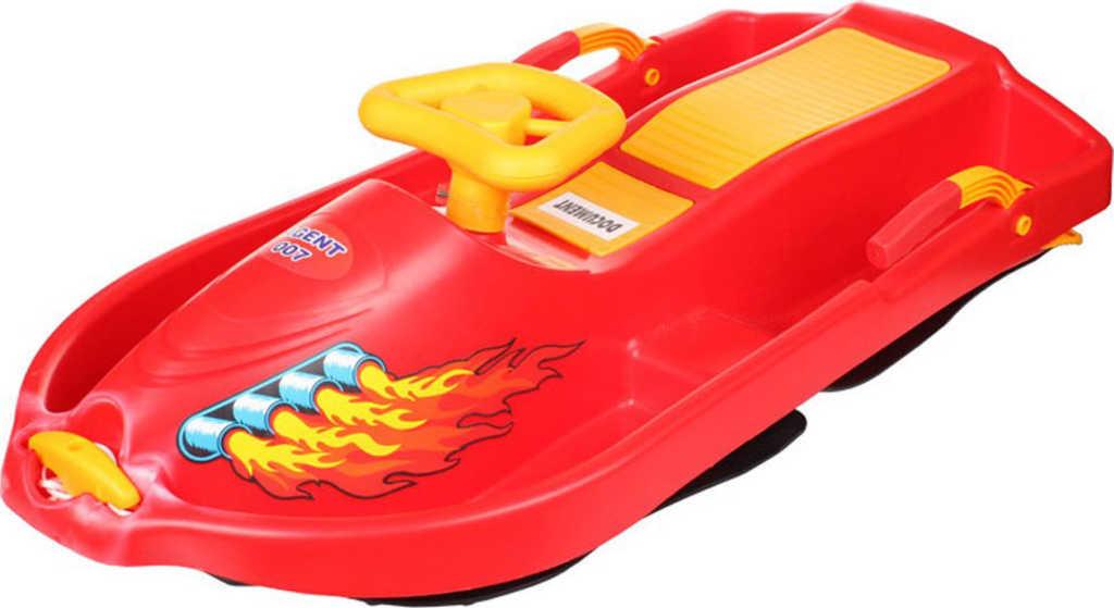 PLASTKON Boby řiditelné s volantem Snow Boat 007 Červený plast