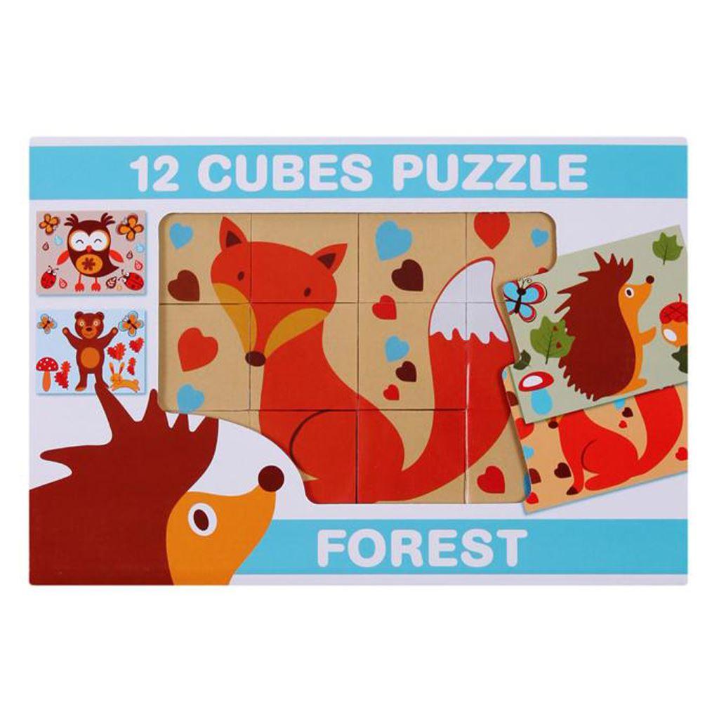 Skládací obrázkové kostky 12 ks - lesní zvířata - dle obrázku