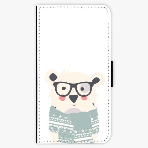 Flipové pouzdro iSaprio - Bear with Scarf - iPhone X