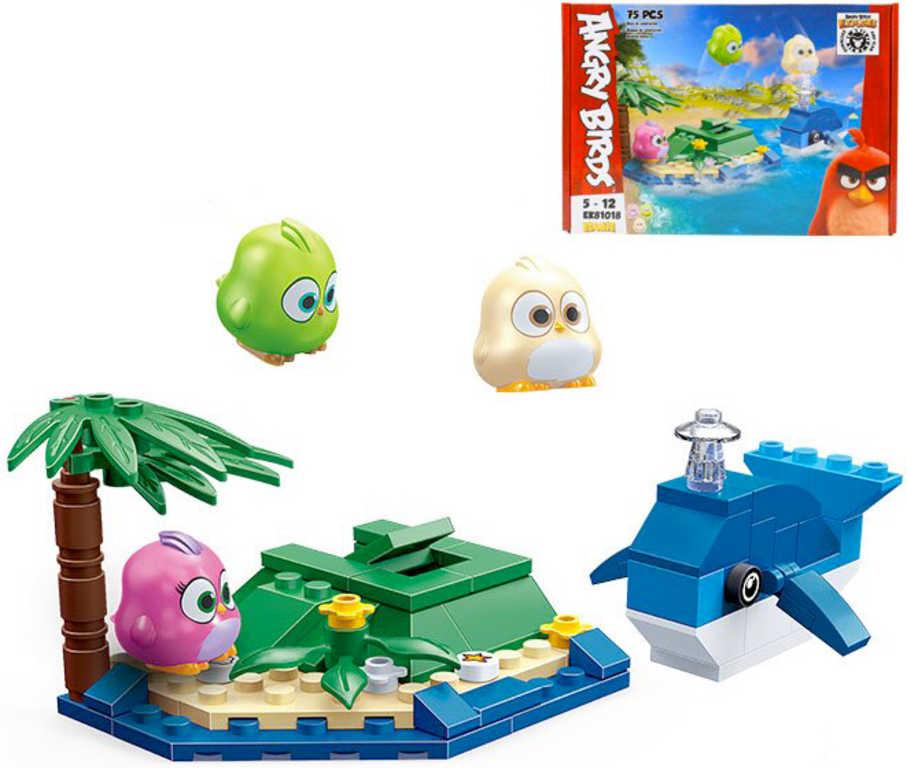 EDUKIE Angry Birds ostrov s velrybou set 75 dílků + 3 figurky STAVEBNICE