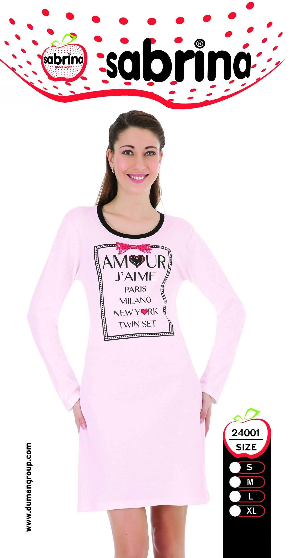 Dámská noční košile SAB 24001 Sabrina - Růžová/S