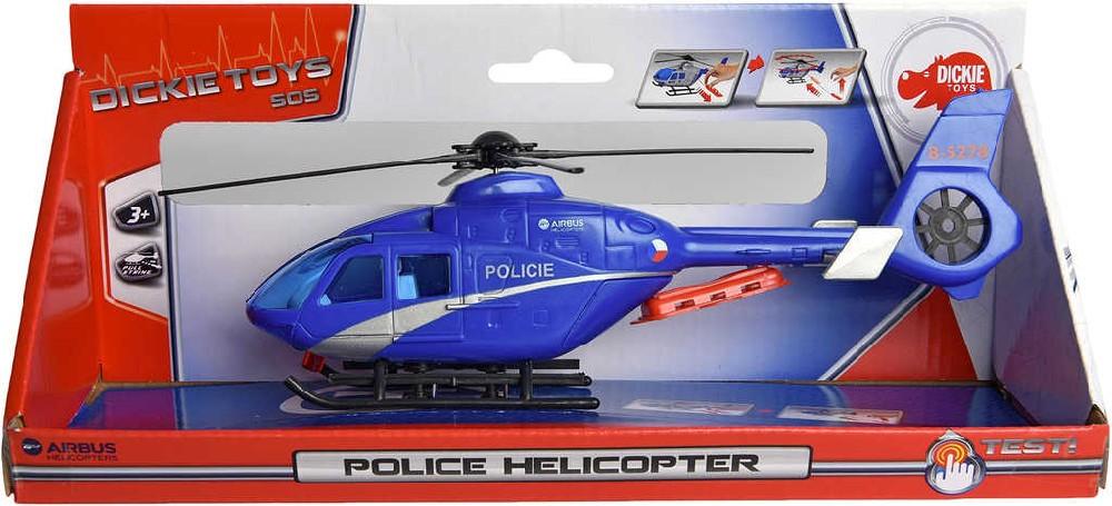 DICKIE Vrtulník policejní helikoptéra modrá 24cm česká verze CZ plast
