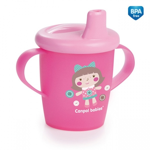 Nevylévací hrníček Canpol Babies Anywayup TOYS - růžový, 250 ml