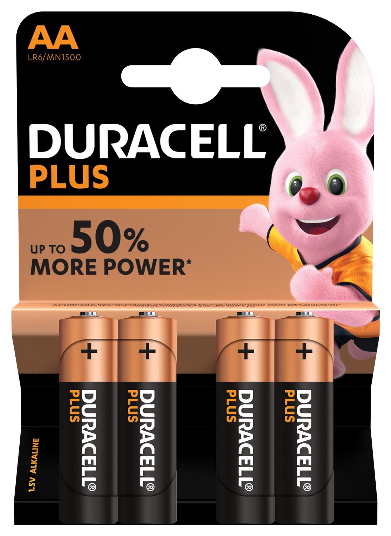 Duracell Plus AA baterie, 1.5V alkalické, 4ks