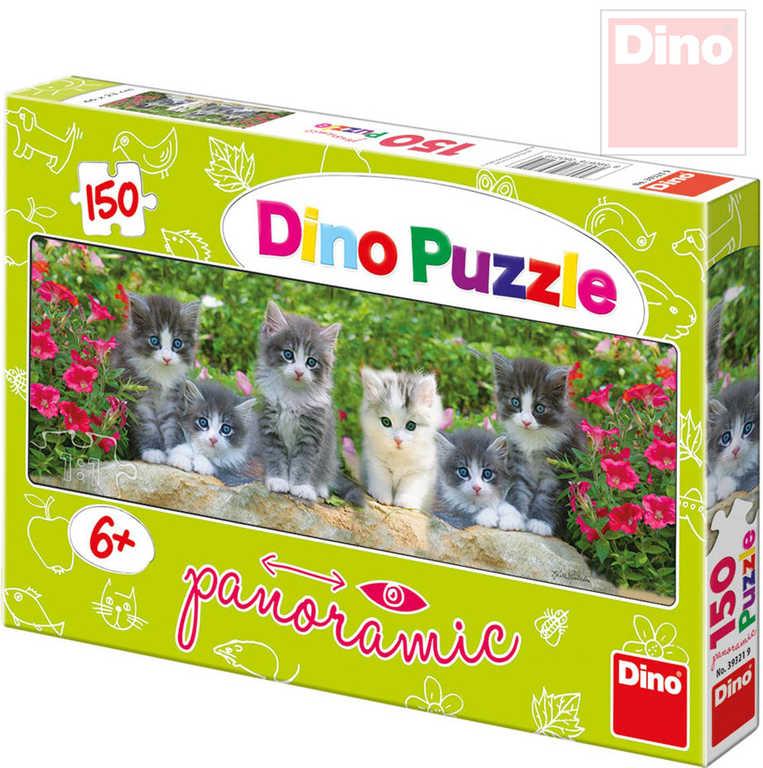 DINO Puzzle panoramatické 66x23cm Koťátka na zahradě 150 dílků v krabici