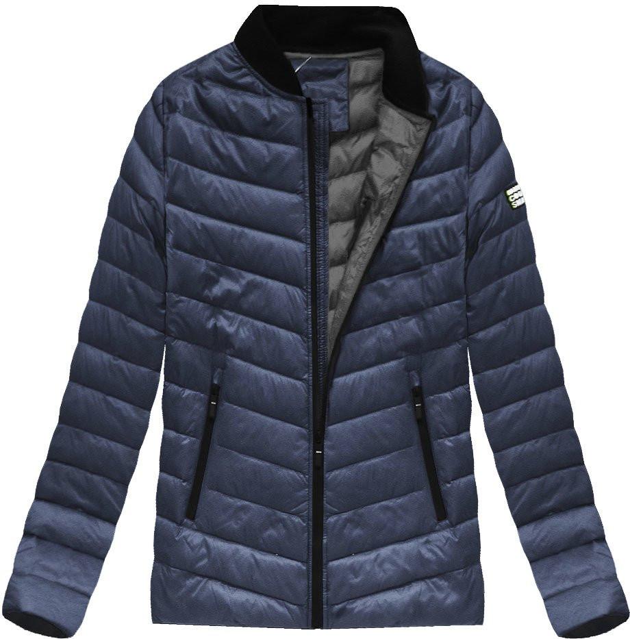 Tmavě modrá pánská bunda s přírodní vycpávkou (5021) - Tmavěmodrá/M