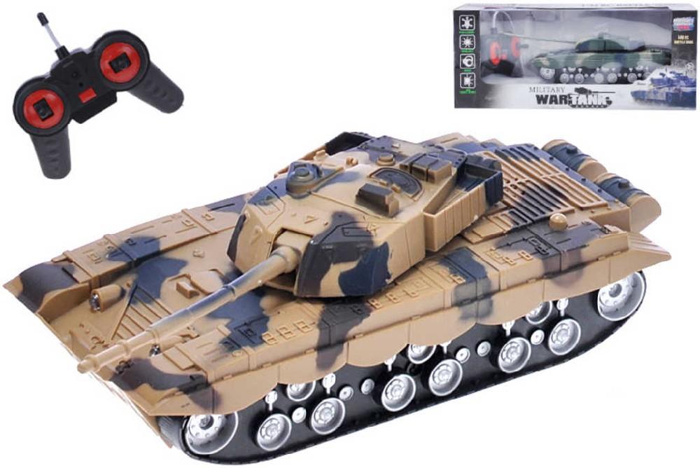 RC Tank na baterie 22cm na dálkové ovládání (na vysílačku) Světlo Zvuk 2 barvy