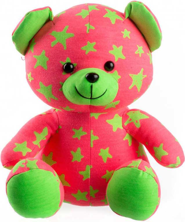 PLYŠ Baby medvídek svítící ve tmě 21cm růžovo-zelený s hvězdičkami fosforeskující