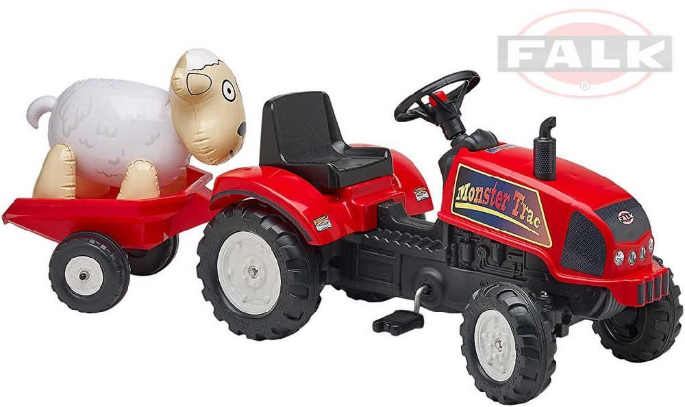 FALK Traktor šlapací červený Monster Trac set s valníkem a ovečkou dětské šlapadlo plast