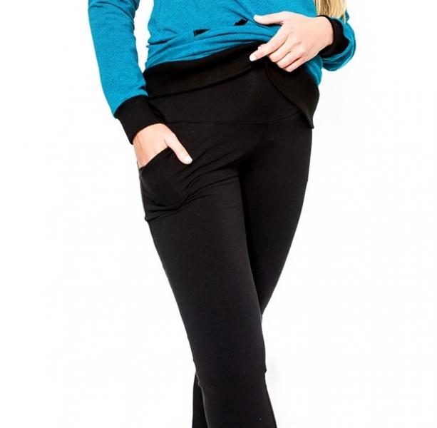 Těhotenské kalhoty Be MaaMaa - KALI černé