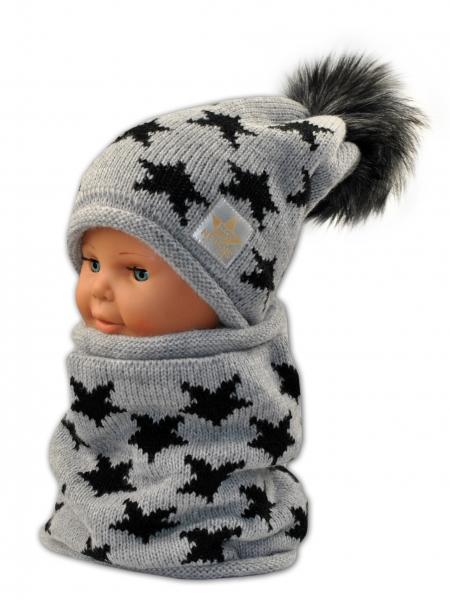Podzimní/zimní čepice s komínkem - šedá - hvězdičky černé