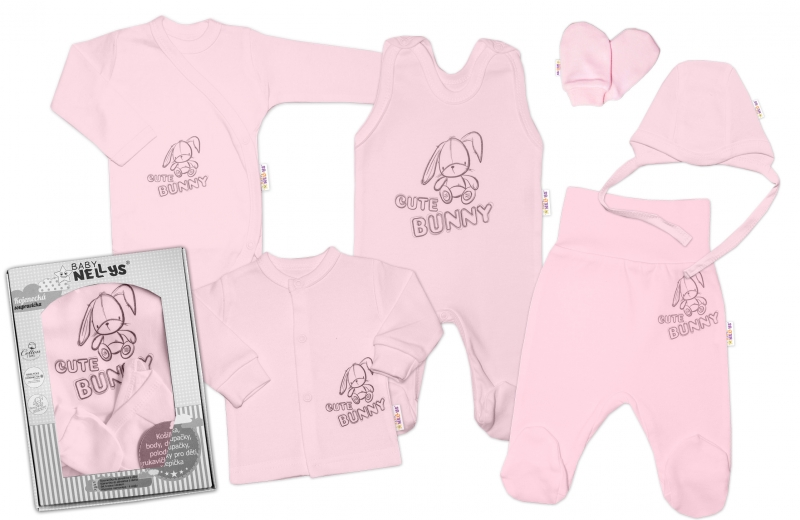 baby-nellys-velka-sada-do-porodnice-cute-bunny-6-ti-dilna-v-krabicce-ruzova-vel-62-62-2-3m