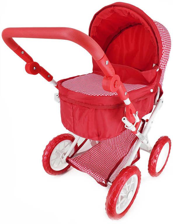 Kočárek hluboký červený károvaný 64x56x37cm pro panenku miminko