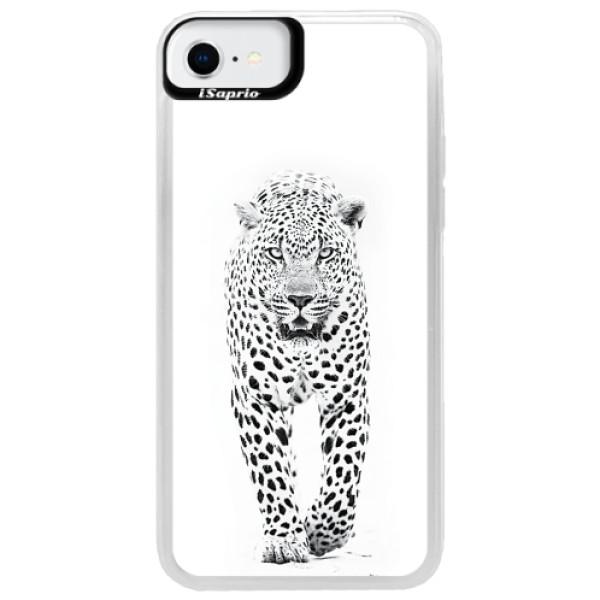 Neonové pouzdro Blue iSaprio - White Jaguar - iPhone SE 2020