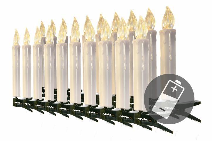 Vánoční svíčky na stromeček - bezdrátové - 20 ks