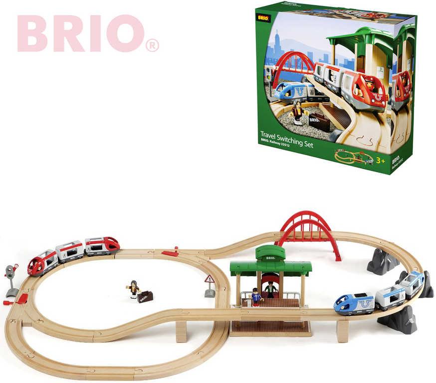 BRIO Vláčkodráha sada s výhybkami, mostem a nástupištěm 42 dílků