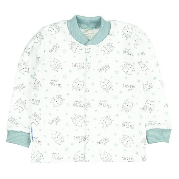 MBaby Novozenecká bavlněná košilka, kabátek OWLS, mátová, vel. 68 - 68 (4-6m)