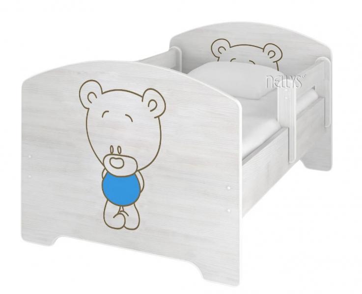 NELLYS Dětská postel BABY BEAR modrý v barvě norské