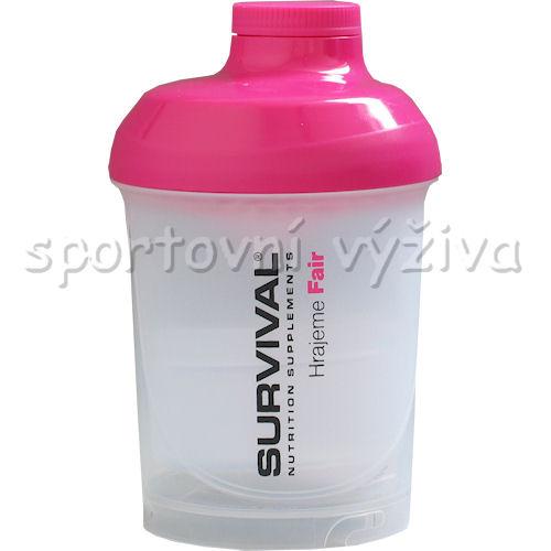 Shaker Survival 300 + 150 ml šejkr na nápoje-transparentni-ruzove-vicko