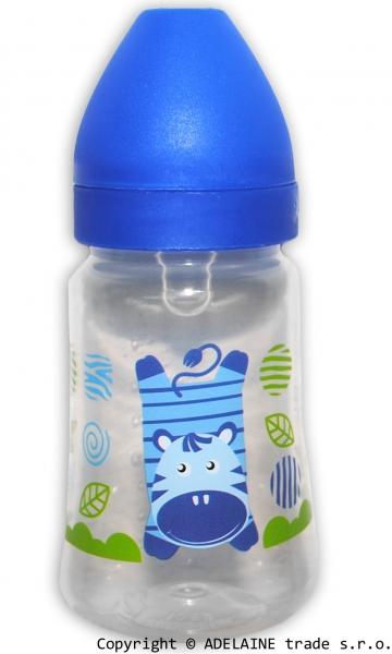 Lahvička Akuku 250ml - modrá se zebrou