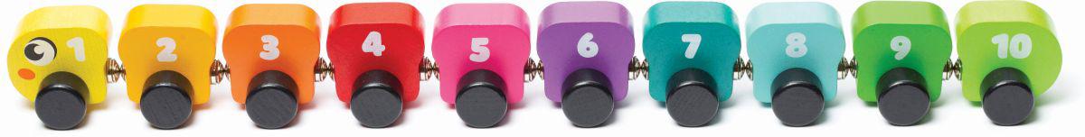 CUBIKA DŘEVO Housenka barevná s magnety s čísly 10 dílků *DŘEVĚNÉ HRAČKY*