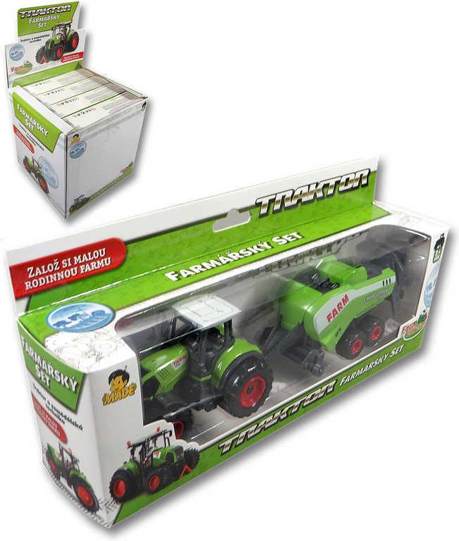 Traktor zelený farmářský set s přívěsem v krabici plast 4 druhy