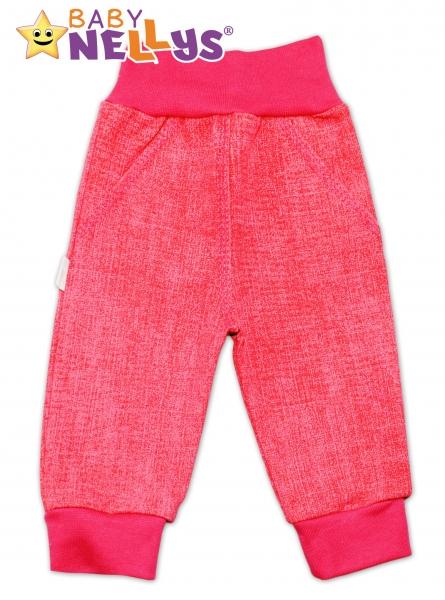 Bavlněné kalhoty Baby Nellys ® - jeans - růžové/malina - 56 (1-2m)