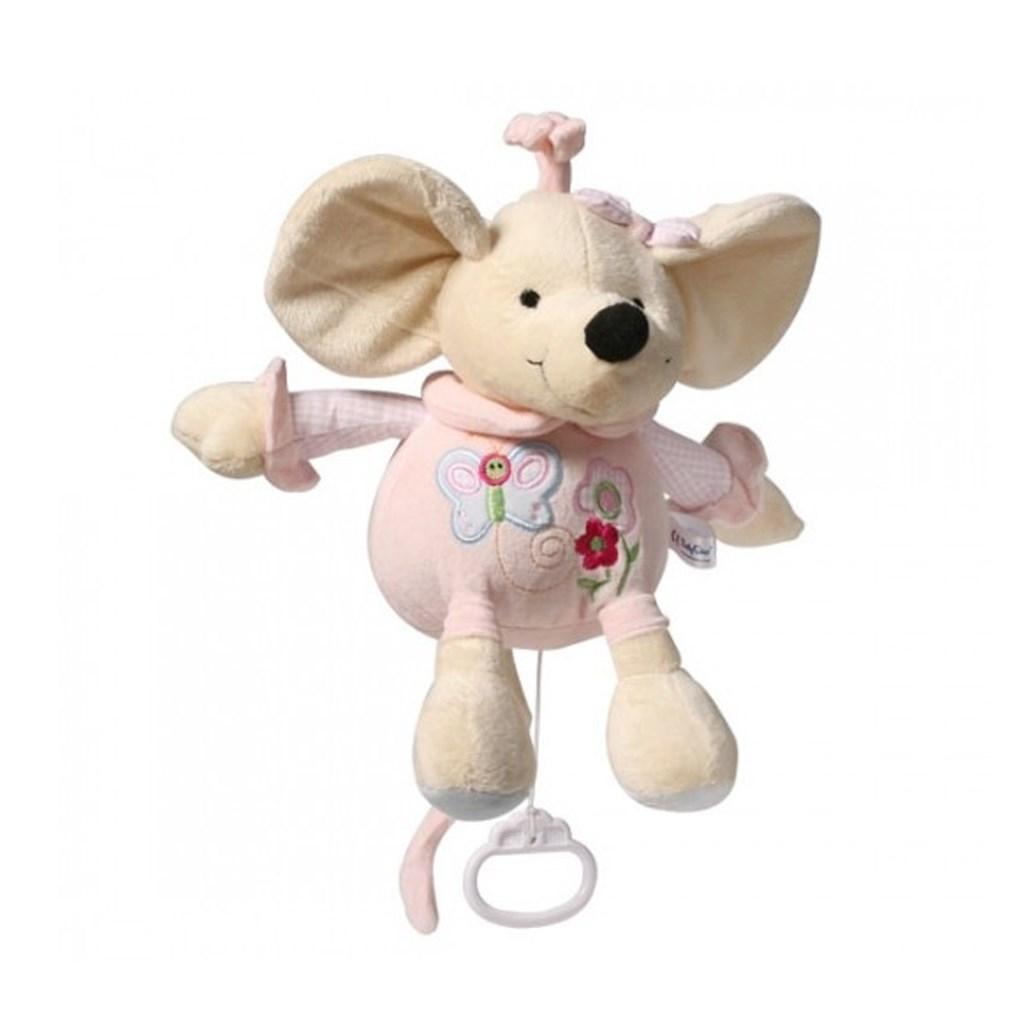 Plyšová hračka s hracím strojkem Baby Ono Myška 31cm - růžová
