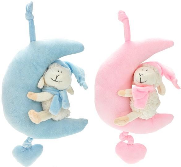 PLYŠ Měsíček s ovečkou hrací strojek natahovací pro miminka