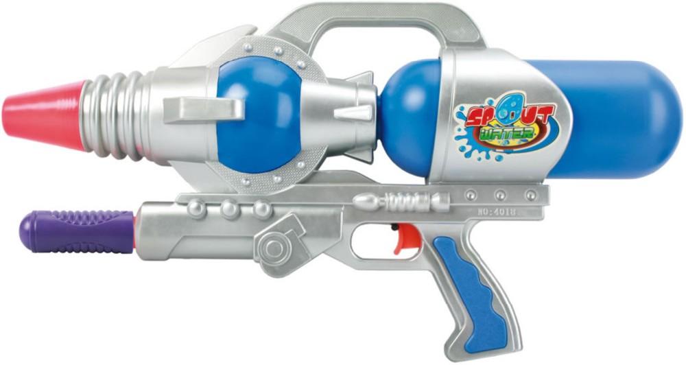 Pistole dětská vodní 49cm plastová se zásobníkem na vodu vesmírná s nádržkou