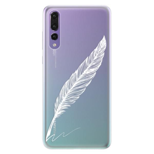 Silikonové pouzdro iSaprio - Writing By Feather - white - Huawei P20 Pro