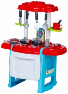 Dětská kuchyňka s příslušenstvím - červená/modrá