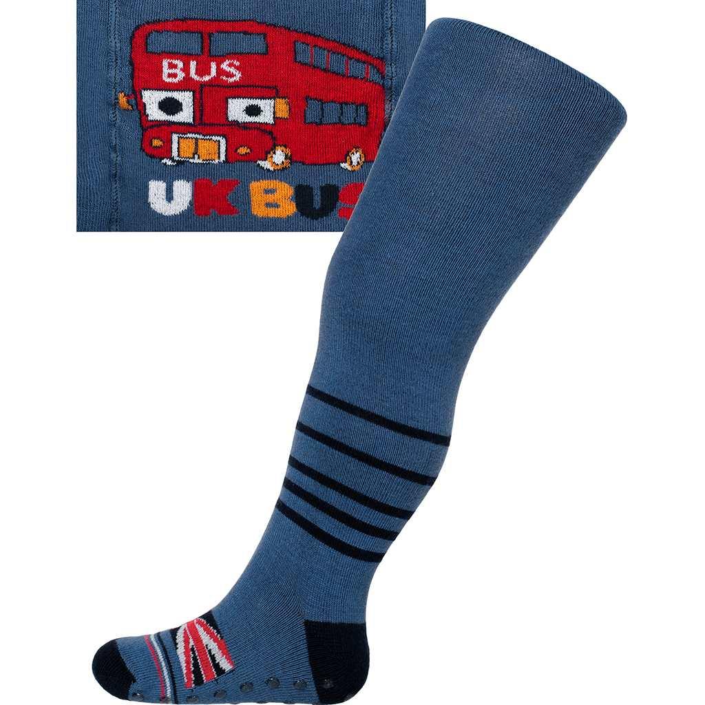 Bavlněné punčocháčky New Baby s ABS tmavě  UK bus - modrá/68 (4-6m)