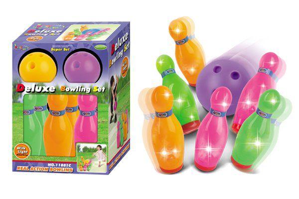 Hrací set G21 Kuželky s koulí barevné, svítící