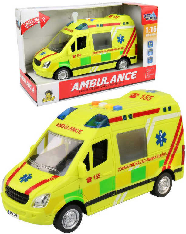 Auto City Collection ambulance 1:16 sanitka na setrvačník na baterie Světlo Zvuk