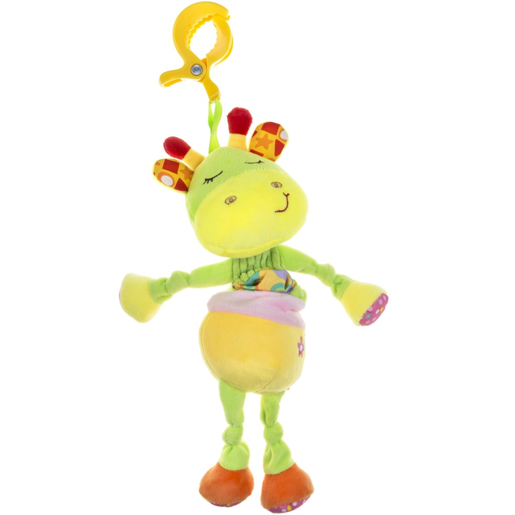 Plyšová hračka s hracím strojkem Akuku žirafka - žlutá