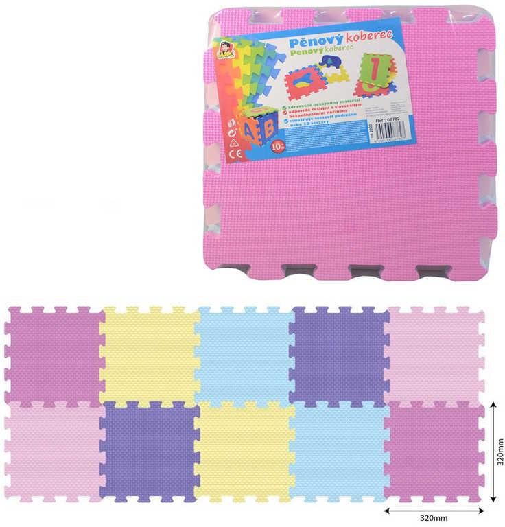 Baby puzzle soft pěnové barevné set 10ks měkké bloky 32x32cm na zem