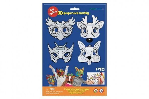 Maska škraboška 3D papírová 4 ks karneval v sáčku