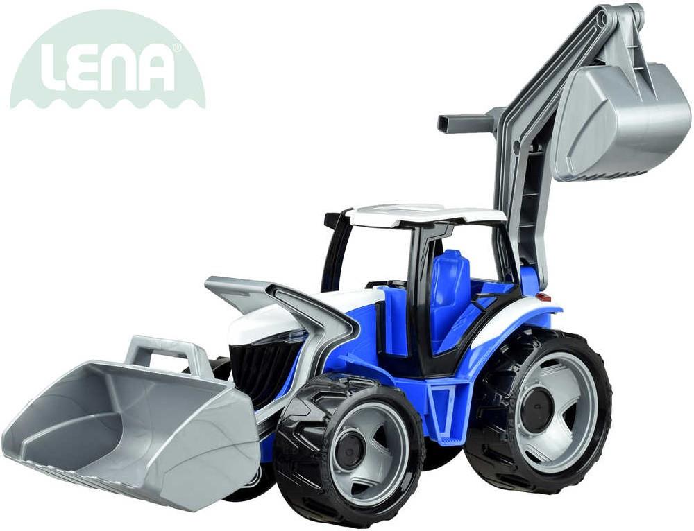 LENA Traktor plastový se lžící a bagrem červeno černý na písek