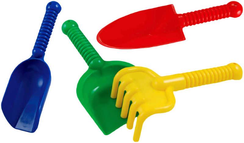 LORI 217 Plastový set 2 lopatky, rýček a hrabičky na písek