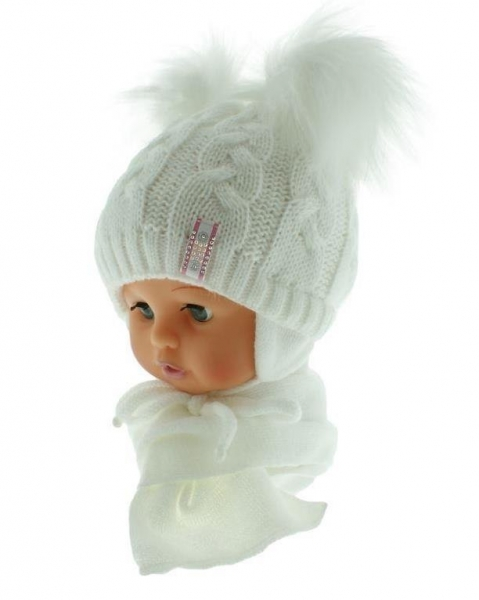 BABY NELLYS Zimní čepička s šálou - chlupáčkové bambulky - bílá/bílé - 6/18měsíců