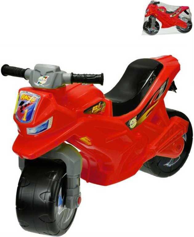 Motorka dětské plastové odrážedlo 68x48x29cm odstrkovadlo červené v sáčku